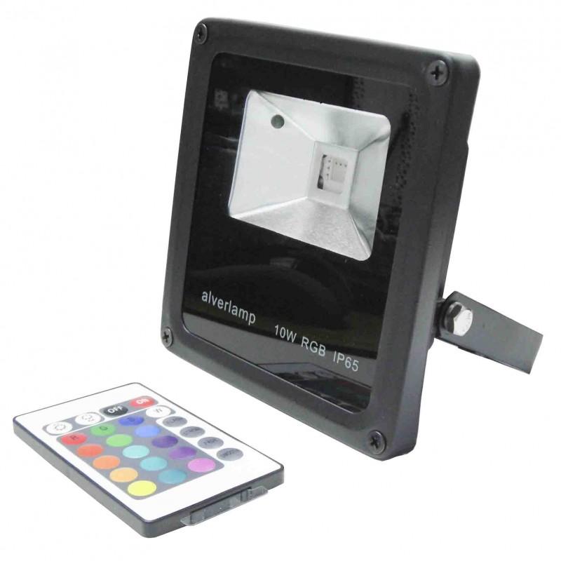 Foco led exterior 10w rgb ip65 con mando alver for Foco led exterior 10w