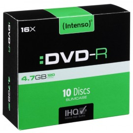 DISCO DVD-R 4,7GB 16x PACK 10 SLIM INTENSO