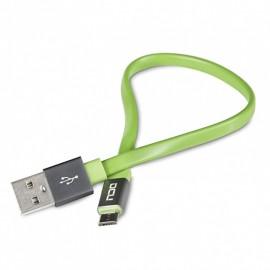 CONEXIÓN MICRO USB PLANO 0,2 m VERDE DCU