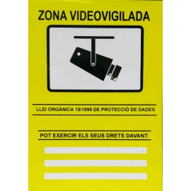 CARTEL CCTV PVC CATALÁ 297 x 210 mm