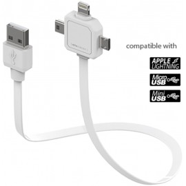 USB CABLE 3 IN 1 WHITE ALLOCACOC