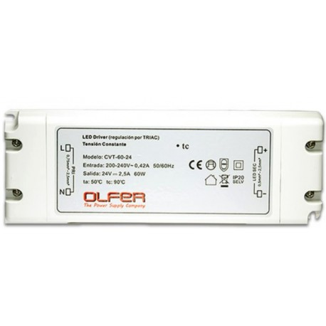 FUENTE LED 24V 2,5A 60W TENSION CONSTANTE IP-20 MW