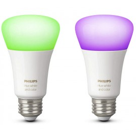 PHILIPS HUE 2x BOMBILLAS E27 WHITE AND COLOR AMBIA
