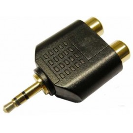 ADAPTADOR JACK 3,5 mm MACHO ESTÉREO A 2x RCA HEMBRA DORADO